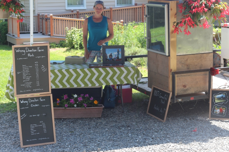 Rachel from Wrong Direction Farms is set up and ready to sell!