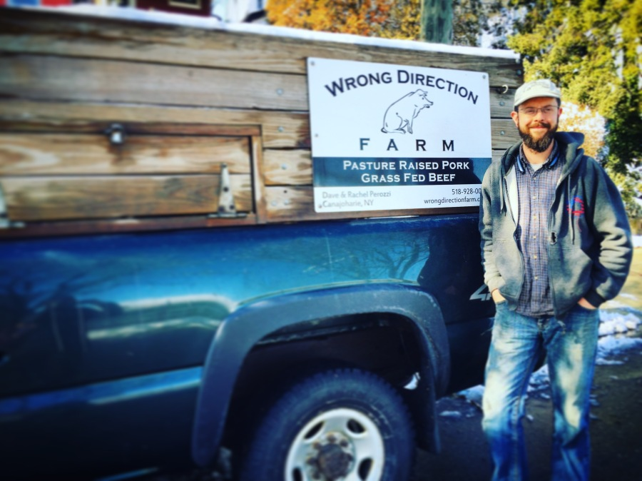 Dave from Wrong Direction Farms delivering Eggs, Beef, Pork and Chicken products